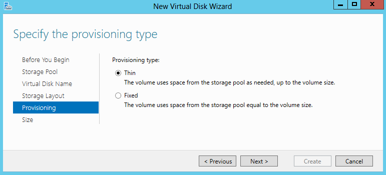 Storage Spaces Thin Provisioning